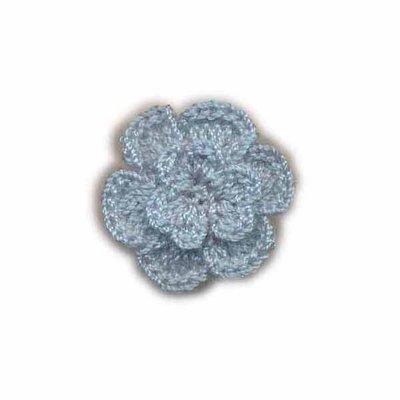 Gehaakt roosje blauw 25 mm