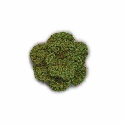Gehaakt roosje donker groen 25 mm
