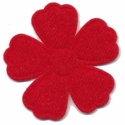 Applicatie bloem rood groot