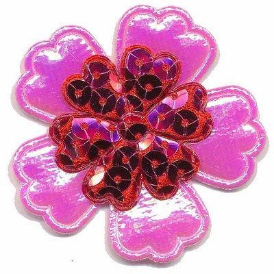 Applicatie glim/pailletten bloem roze/rood