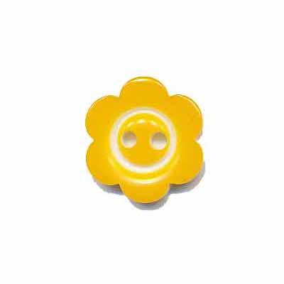 Bloemknoop met rand geel 15 mm