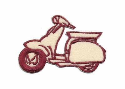 Applicatie scooter creme/bordeaux (5 stuks)