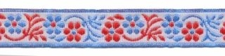Wit-rood-blauw bloemband 12 mm (ca. 22 m)