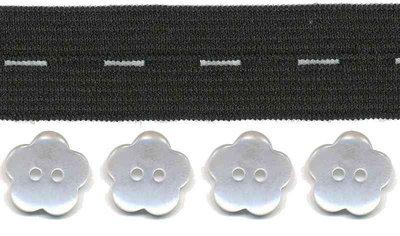 Zwart knoopsgatenelastiek (20 mm) en bloemknopen (15 mm)