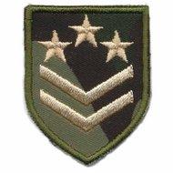 Applicatie leger/army schild met 2 strepen en 3 sterren (5 stuks)