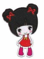 Applicatie meisje met jurkje rood-fuchsia (5 stuks)