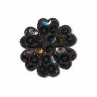 Applicatie bloem met pailletten zwart 30 mm (10 stuks)