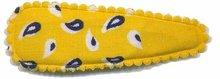 Haarknip met haarkniphoesje geel paisley 5 cm