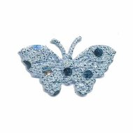 Applicatie glitter vlinder blauw 40 x 25 mm (ca. 25 stuks)